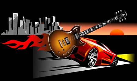 riff: Rock, guitar and red car in the city  City in sunset Illustration