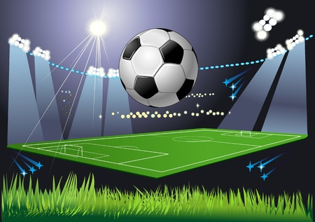 Soccer ball on the field of stadium with light   Illustration