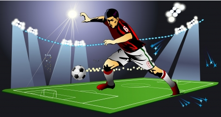 Soccer player on the field of stadium with light