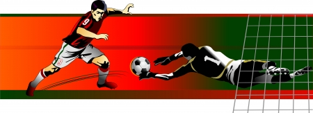 goalkeeper: soccer player kick the ball  Goalkeeper catch the ball