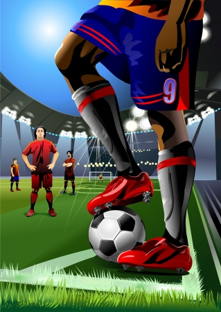 soccer player preparing for kick the ball  corner kick
