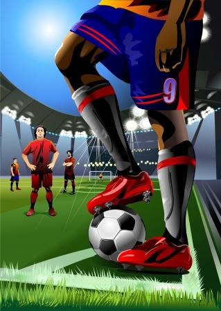 soccer player preparing for kick the ball  corner kick  Vector