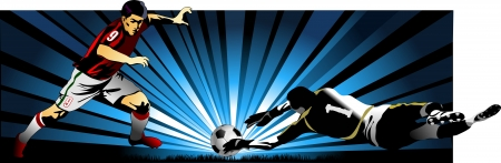 soccer player kick the ball  Goalkeeper catch the ball   Illustration