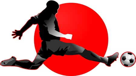 soccer player in red  penalty kick Vector