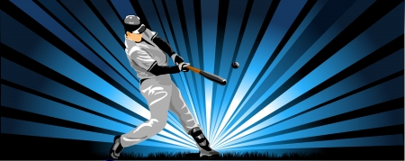baseball catcher: Baseball Batter Vector Illustration