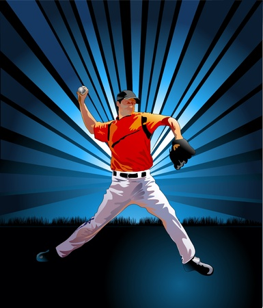 guante de beisbol: lanzador de béisbol lanza la pelota disparo de la Plaza Vectores