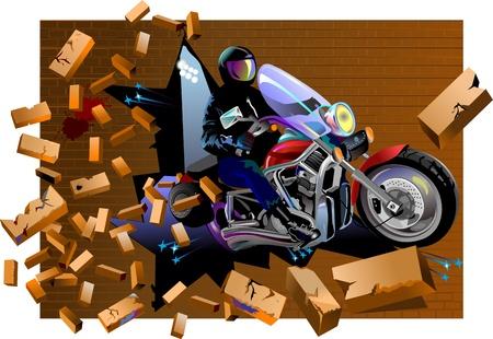 breaks: El Jinete del Moto pared de ladrillo se rompe la pared de ladrillo Crush Vectores