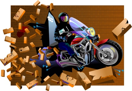 Rider  on Motorbike breaks brick wall  Crush the brick wall Vector