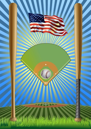 Baseball field  baseball bat  baseball ball  USA flag Stock Vector - 13920076