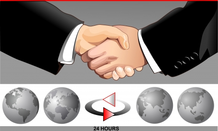 business people shaking hands: Handshakes and FOUR PHASE ROTATION OF THE EARTH
