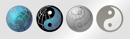 ying yan: World Globe Maps and  Yin Yang vector illustration