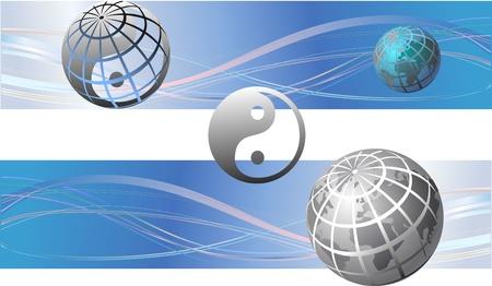 yin y yan: World Globe Maps y Yin Yang ilustración vectorial Vectores