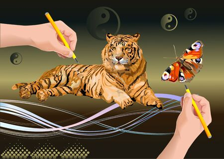 hand draws a butterfly and a Siberian tigers Vector