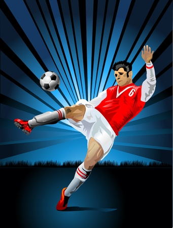a soccer player in indigo Stock Vector - 13920082