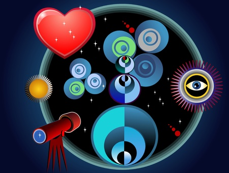 The abstract planets of love in the star sky Illustration