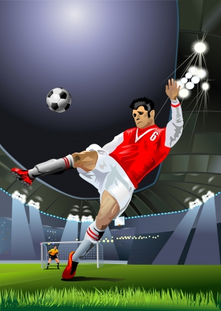 a soccer player hits the soccer ball on the soccer field Vector
