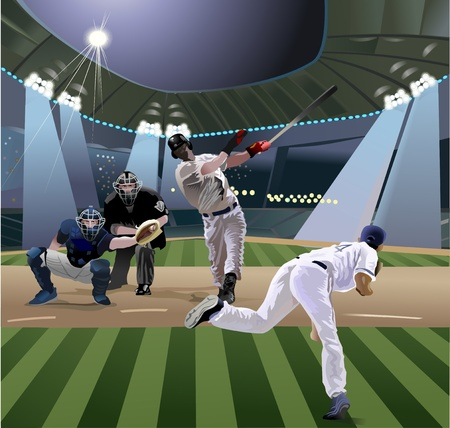 baseball diamond: baseball players playing baseball in the stadium Illustration