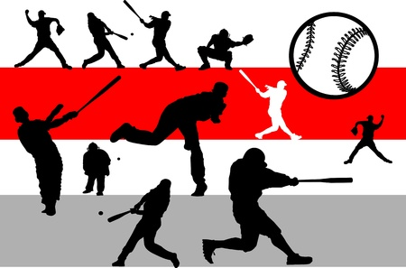 baseball catcher: Baseball game set Illustration