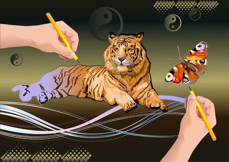 a butterfly and a Siberian tigers. hand draws Stock Vector - 13959724