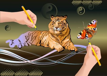 tigresa: una mariposa y una tigres siberianos. mano dibuja