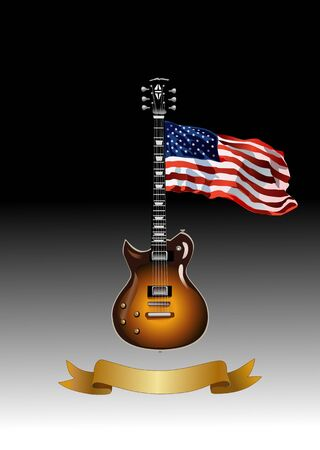 potentiometer: Classic electric guitar with USA flag Illustration