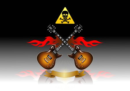 blues music: Classic electric guitar in the fire on black background Illustration