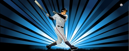 Baseball Batter in indigo Illustration