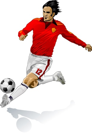 man in field: a soccer player Illustration