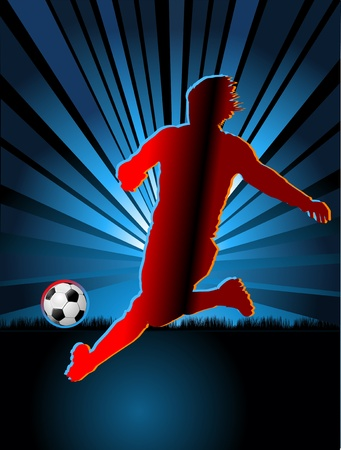 a soccer player and soccer ball Vector