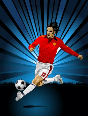 a soccer player and indigo color  イラスト・ベクター素材