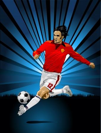 football match: un giocatore di calcio e di colore indaco