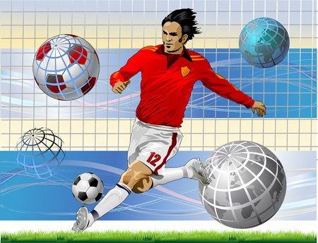 Soccer Action Player. Original sports poster. World championship Vector