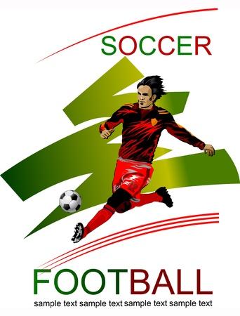 atleta corriendo: Acci�n del Jugador de F�tbol del cartel original de los deportes Vectores