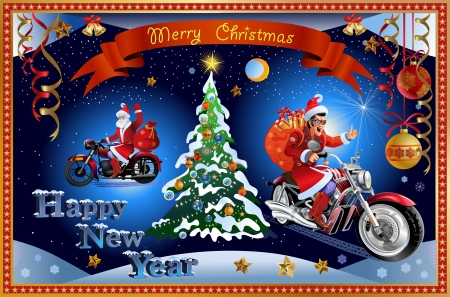motorbikes: Merry Christmas  Santa Claus and New Year