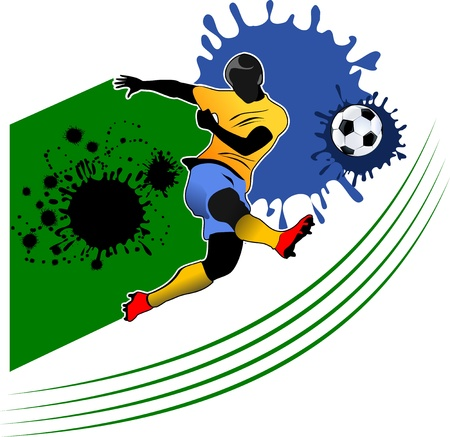 Soccer player kick the ball Illustration