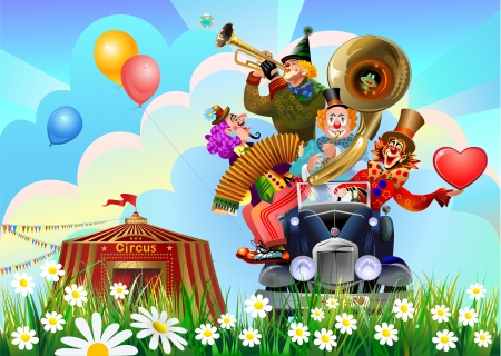 clowns car and circus big top Vector