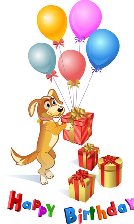 dog is a gift for a friends birthday Illustration