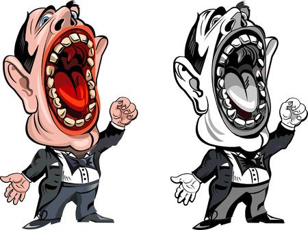frock coat: Cartoon operatic singer Illustration