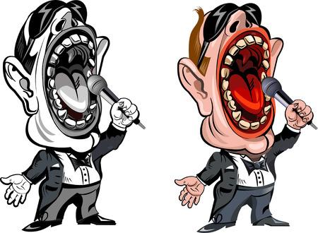 funny cartoon singer Illustration