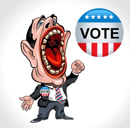 voting: cartoon man voting