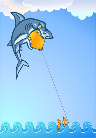 resourceful: Goldfish catching sharks with an balloon Illustration