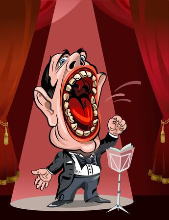 performance art: Cartoon operatic singer Illustration
