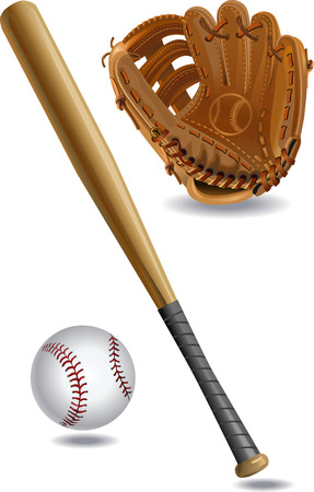 bat and ball: Bat, ball and Mitt