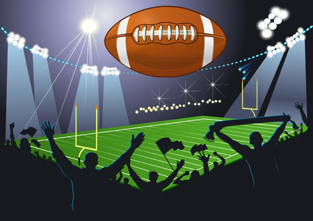American Football ball in the air over a field in the spotlight. Fans cheer their team.