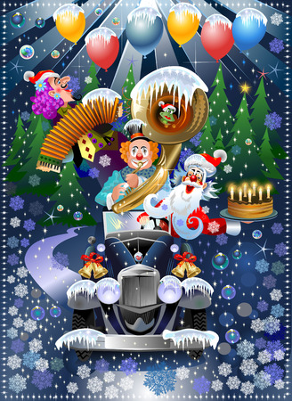 Clowns and Santa stuck in the car in the middle of a snow-covered forest
