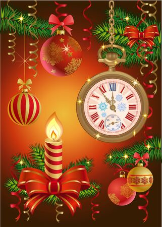 watch new year: Christmas candles and NEW YEAR WATCH Illustration