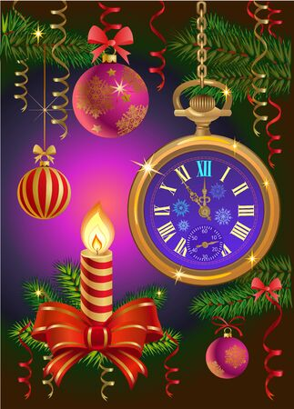 christmas candles: Christmas candles and NEW YEAR WATCH Illustration