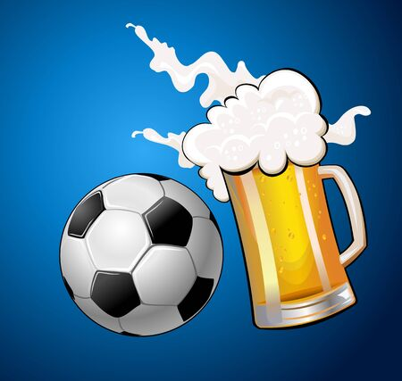 clink: mugs of beer and Soccer Ball clink foam flies around Illustration