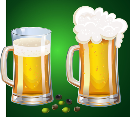 lager beer: Too Mugs of beer and olives