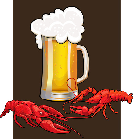 lager beer: two boiled crawfish and mug of beer Illustration